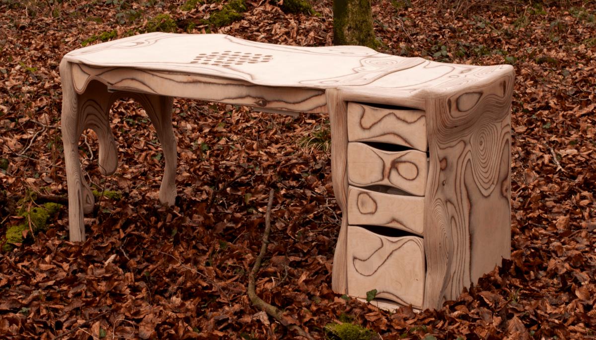 Table d'ongleries sur mesure en bois Stöckwood avec aspiration pour studios de manucure