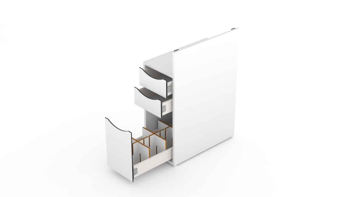 Optional: Raster für die untere Schublade. Schrank von Nageltisch FantasTisch