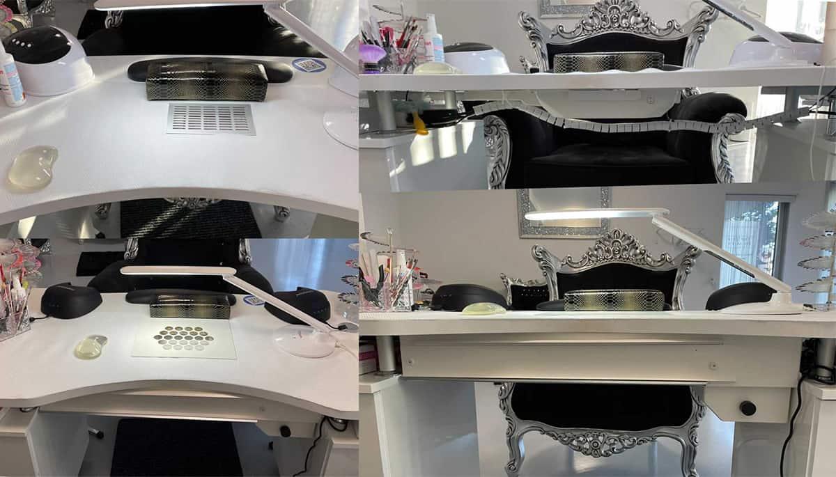 Absaugung A400 eingebaut in einen vorhandenen Tisch bei All in one Beauty