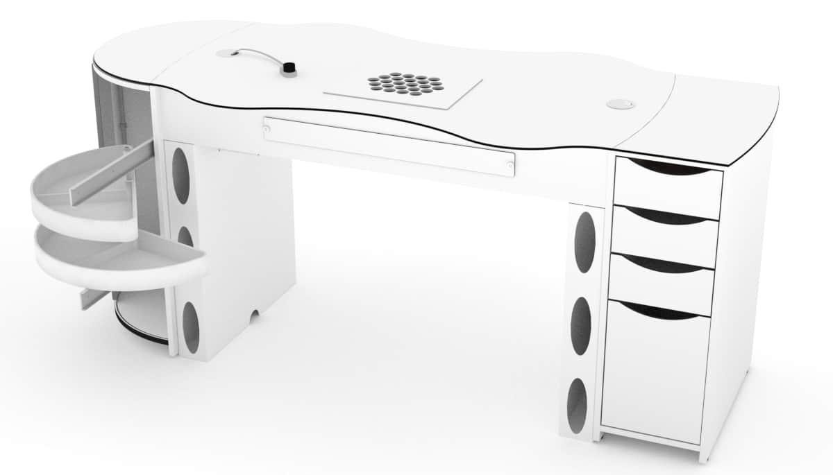 Table d'ongleries FantasTisch avec 4 tiroirs et tiroirs rotatifs