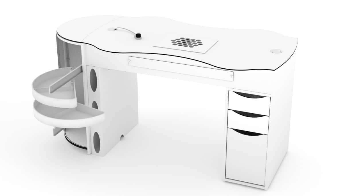 Table d'ongleries FantasTisch avec 3 tiroirs et tiroirs rotatifs