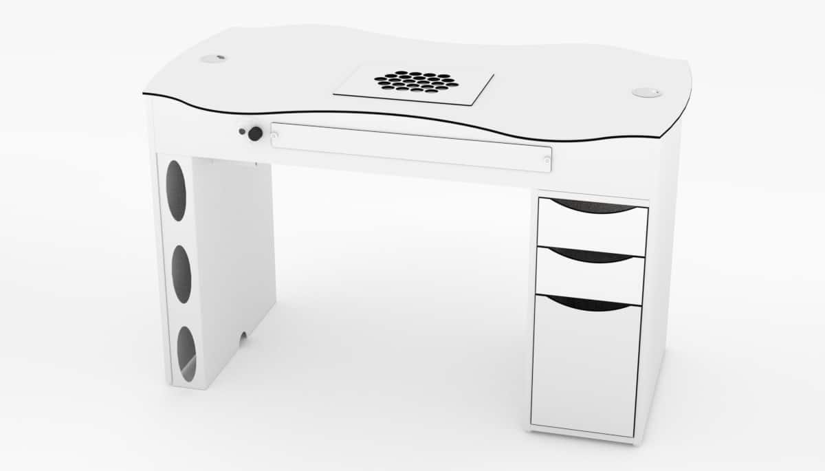 Table d'ongelries FantasTisch avec bloc de tiroirs 3 droite pour studios de manucure
