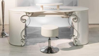 Nail table OptiTisch with Baroque A covers and hand rest with suction for nail studios