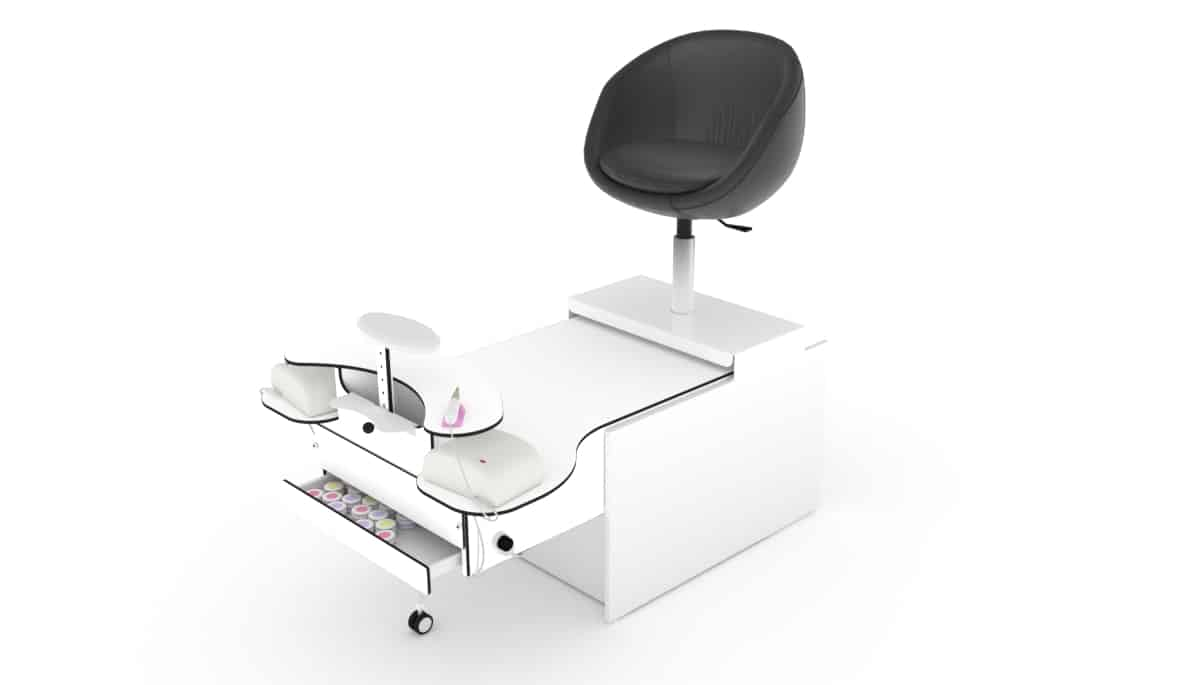 Foot cosmetics unit / pedicure chair with suction for nail salons